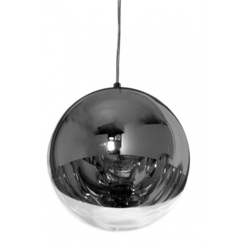 Szklana lampa wisząca MBS 40 insp. Mirror Ball do salonu. Kolor srebrny
