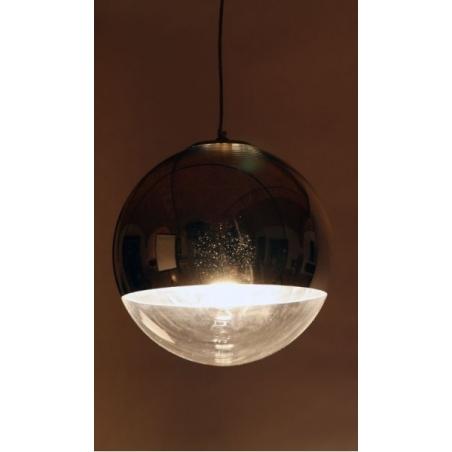 Designerska Lampa wisząca szklana kula MBS 40 insp. Mirror Ball Srebrna do salonu i sypialni.