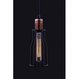 Stylowa Lampa wisząca druciana Laboratory 10 Czarna nad wyspę w kuchni.