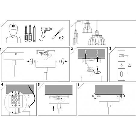 Industrialny Kinkiet druciany Laboratory A Czarny do sypialni i salonu.