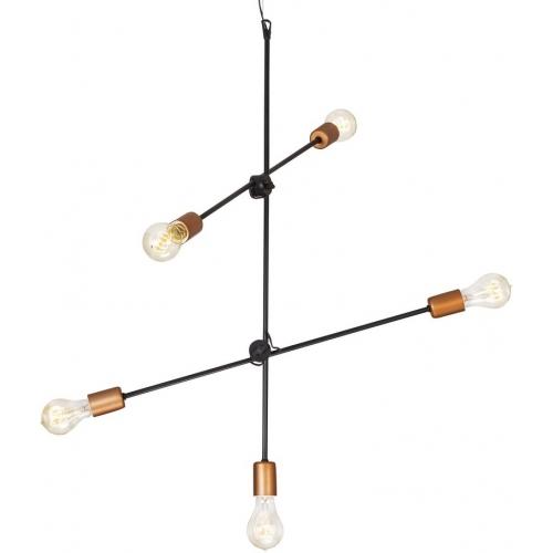 Industrialna Lampa wisząca Staff 2 do salonu. Kolor: miedziany w cenie 289