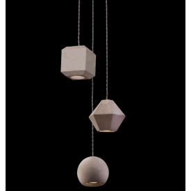 Designerska Lampa betonowa wisząca Metric III Szara do jadalni nad stół.