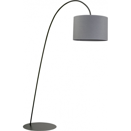 Delicate Floor grey arched floor lamp with shade