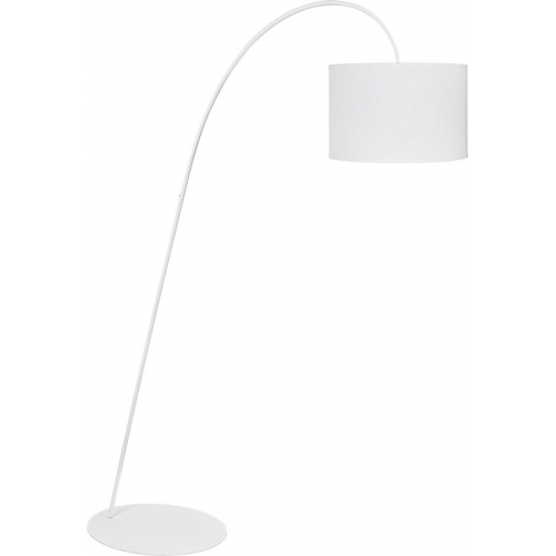 Delicate whitearched floor lamp with shade
