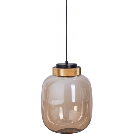 Szklana lampa wisząca Boom 25 LED Step Into Design do salonu. Kolor bursztynowy