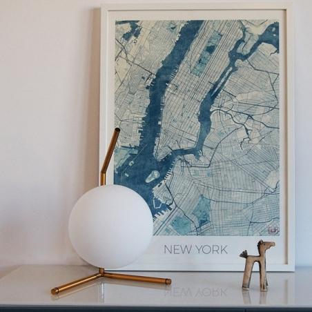 Designerska Lampa stołowa szklana kula Solaris Biały i Mosiądz Step Into Design do sypialni.