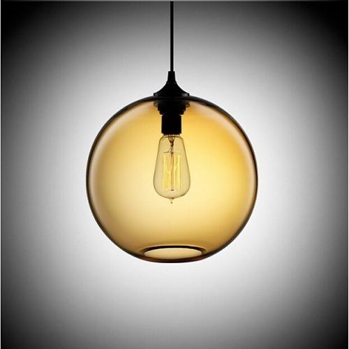 Designerska Lampa wisząca szklana kula Love Bomb 25 Bursztynowa Step Into Design do salonu i sypialni.