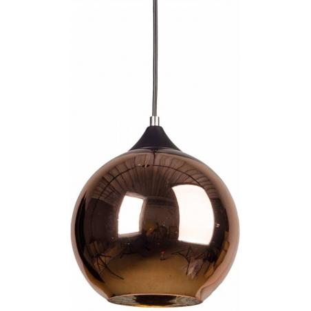 Designerska Lampa wisząca szklana kula MBC X 25 Miedziana do salonu i sypialni.