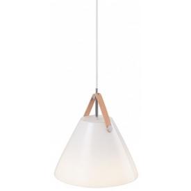 Szklana lampa wisząca Strap Glass 27 DFTP do salonu. Kolor biały