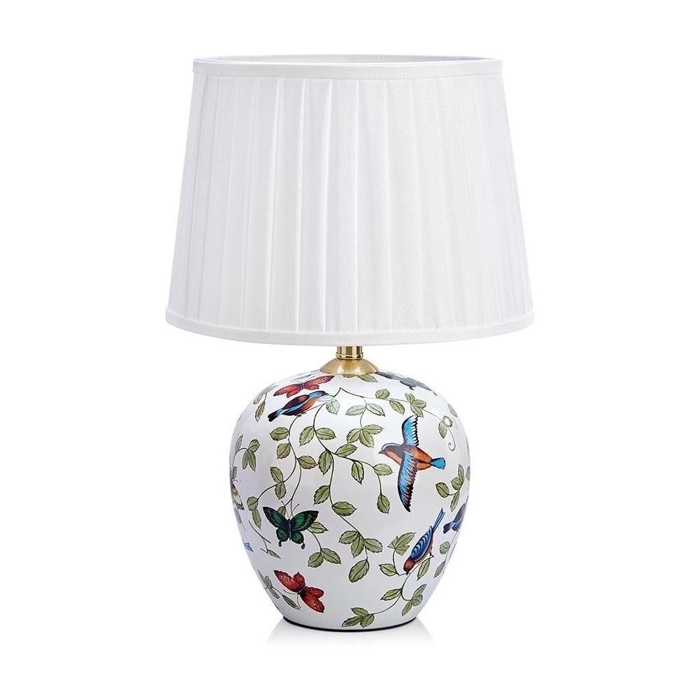 Dekoracyjna Lampa Stołowa Mansion M Na Ceramicznej Podstawie Do Sypialni
