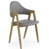 Krzesło z podłokietnikami Elbo Halmar do jadalni. Kolor: popiel
