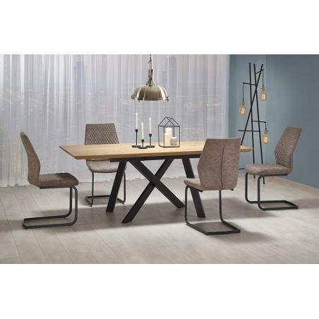 Stylowy Stół industrialny rozkładany CAPITAL 160x90 Dąb złoty/Czarny Halmar do kuchni, jadalni i salonu.
