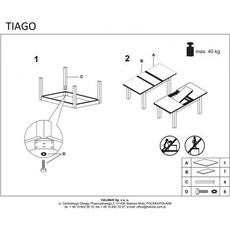 Stylowy Stół skandynawski rozkładany TIAGO 140x80 Dąb Halmar do jadalni, kuchni i salonu.