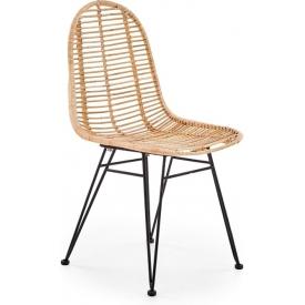 Designerskie Krzesło rattanowe K337 Jasny brąz Halmar do jadalni i salonu.