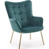 Designerski Fotel wypoczynkowy Castel II Halmar do salonu. Kolor ciemno zielony