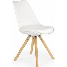 Designerskie Krzesło z podłokietnikami Ego Signal do jadalni. Kolor biały, jasno szary, Styl inspirowane.