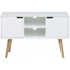 Mitra 96 white cabinet with wooden legs Actona