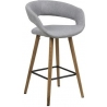 Grace Low light grey upholstered bar stool with backrest Actona