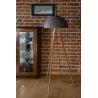 Industrialna Betonowa lampa podłogowa trójnóg Sfera Antracytowa LoftLight do salonu i sypialni.