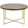 Designerski Stolik kawowy okrągły złoty z marmurem Alisma 80 Actona do salonu.