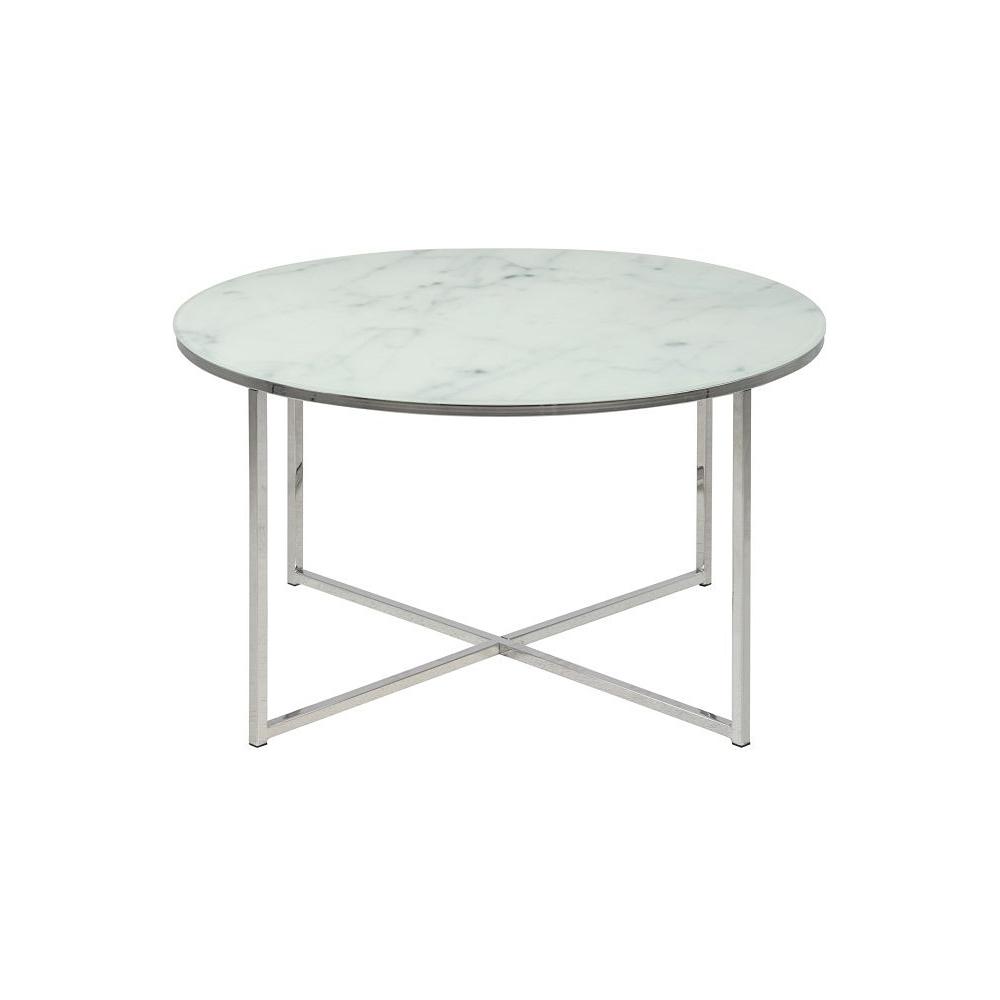 Alisma 80 Chrome Round Coffee Table With Marble Top Actona