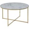 Designerski Stolik kawowy złoty z marmurowym blatem Alisma 80 Actona do salonu.
