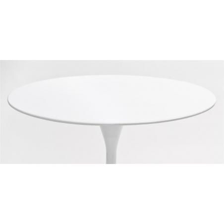 Stylowy Stół okrągły na jednej nodze Tulipan MDF 90 Biały D2.Design do kuchni, jadalni i salonu.