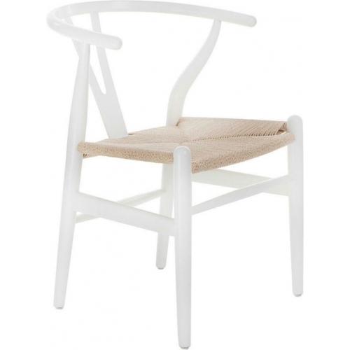 Designerskie Krzesło drewniane Wicker D2.Design do kuchni. Kolor biały