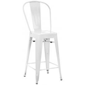 Designerskie Metalowy krzesło barowe z oparciem Paris Back 66 insp. Tolix Białe D2.Design do kuchni.