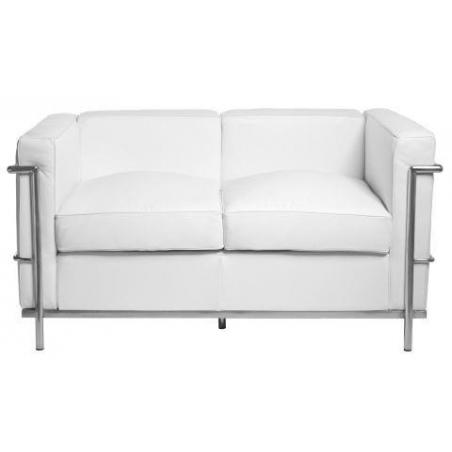 Stylowa Sofa skórzana 2 osobowa LC Biała D2.Design do salonu i przedpokoju.