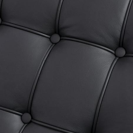 Stylowy Podnóżek skórzany pikowany insp. Barcelon (Otoman) Czarny D2.Design do fotela.