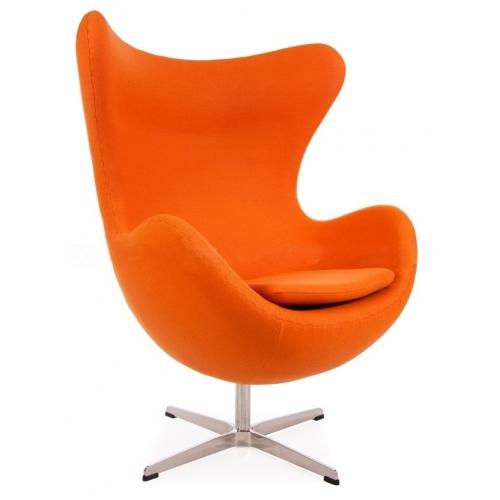 Designerski Fotel tapicerowany Jajo Chair Cashmere Pomarańczowy D2.Design do salonu i sypialni.