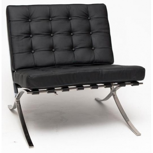 Barcelon Single black leather quilted armchair D2.Design