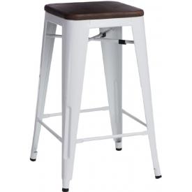 Designerski Stołek barowy metalowy Paris 75 Wood Orzech/Biały D2.Design do kuchni.