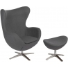Jajo grey upholstered swivel armchair with footrest D2.Design