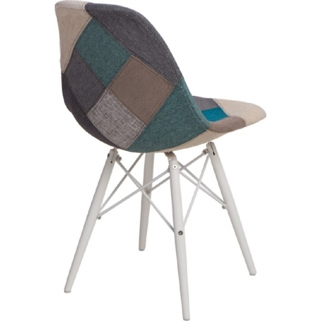 DSW Patchwork White blue&grey upholstered chair D2.Design