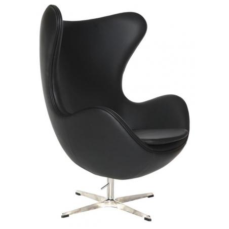 Designerski Fotel skórzany Jajo Chair Leather D2.Design do salonu. Kolor czarny