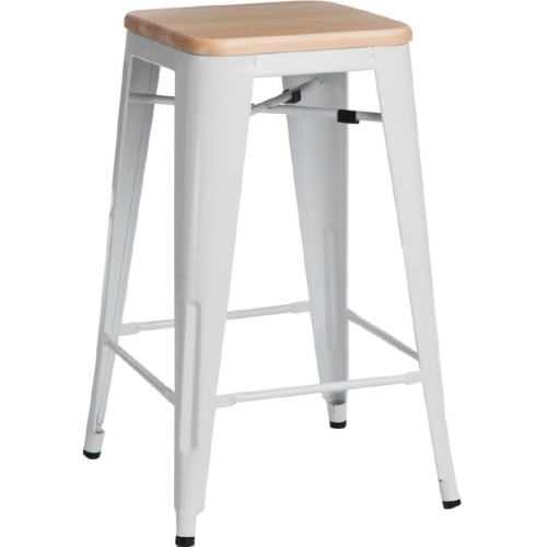 Paris Wood 65 natural&white scandinavian bar stool D2.Design