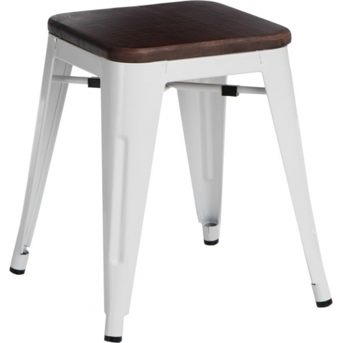 Paris Wood walnut&white industrial metal stool D2.Design