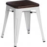 Paris Wood brushed walnut&white industrial metal stool D2.Design