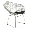 HarryArm insp. Diamond chrome&black wire chair with armrests D2.Design