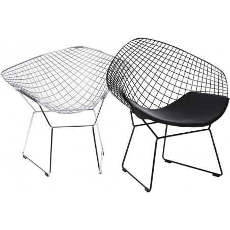 Designerskie Krzesło druciane z podłokietnikami HarryArm insp. Diamond Armchair do kuchni. Kolor czarny