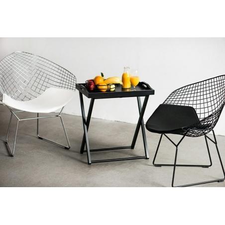 Designerskie Krzesło druciane z podłokietnikami HarryArm insp. Diamond Armchair Chrom/Czarny D2.Design do jadalni, salonu i kuch