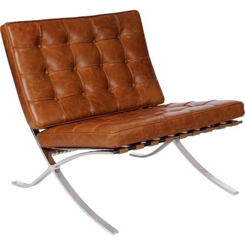 Designerski Fotel skórzany Barcelon Vintage Jasny brąz D2.Design do salonu i sypialni.