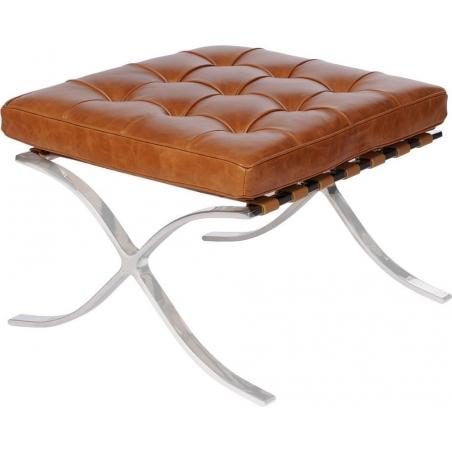 Stylowy Podnóżek skórzany pikowany Barcelon Vintage Jasny brąz D2.Design do fotela.