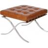 Barcelon Vintage light brown quilted leather footstool D2.Design