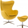 Jajo Velvet yellow swivel armchair with footrest D2.Design