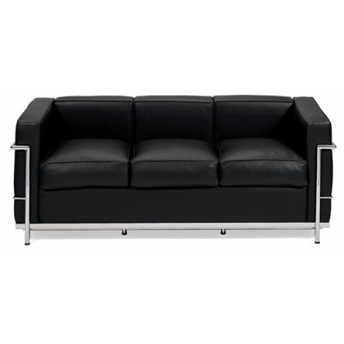 Modna Sofa skórzana LC 3-os. D2.Design do salonu. Kolor czarny