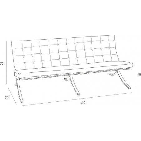 Stylowa Sofa skórzana 3 osobowa Barcelon Jasny brąz D2.Design do salonu i przedpokoju.