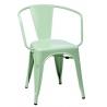 Designerskie Krzesło metalowe z podłokietnikami Paris Arms insp. Tolix Miętowe D2.Design do jadalni, salonu i kuchni.